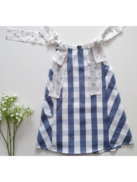 Vestido Dadati  tirantes con lazo de cuadros azul y blanco niña