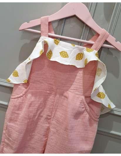 Mono Dadati Rosa Volante Limones Niña