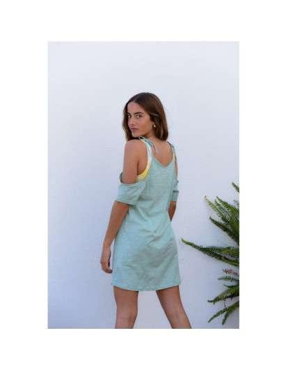 Vestido MariCruz Verde Algodon Sin hombros Teen