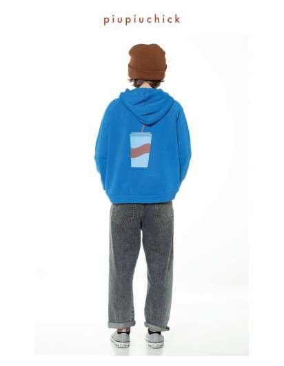 SUDADERA Piupiuchick BATIDO azul con capucha Unisex