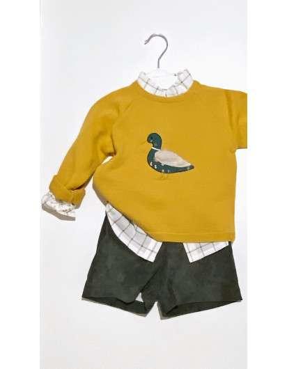 Conjunto Valentina BebéS Pato Mostaza Verde Jersey Camisa Bombacho