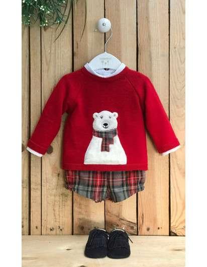 Conjunto Valentina BebéS Oso Polar   Jersey Camisa Y Bombacho Cuadros Rojo Y Gris Niño