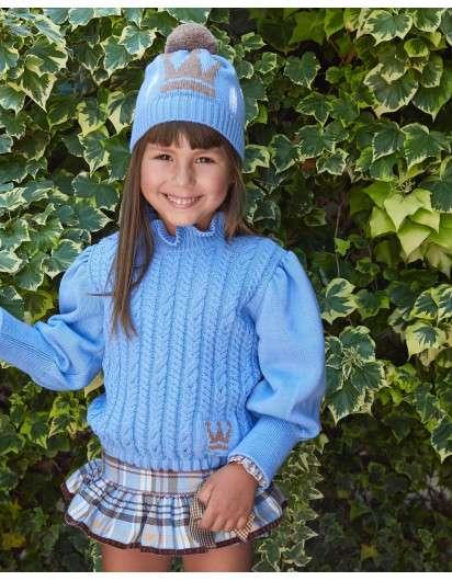 Conjunto EVA CASTRO Niña Emily BOMBACHO BLUSA NINA Azul y Marron