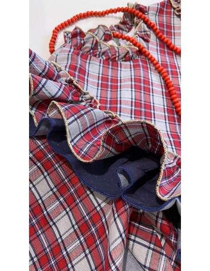 Vestido Huston La Martinica Cuadros Rojo Y Marino Topos Niña