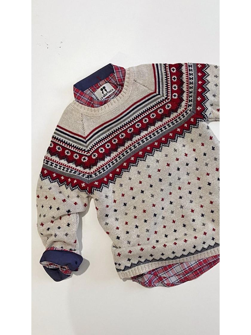 Camisa Huston Niño  La Martinica Camisa Cuadros Rojo Y Marino