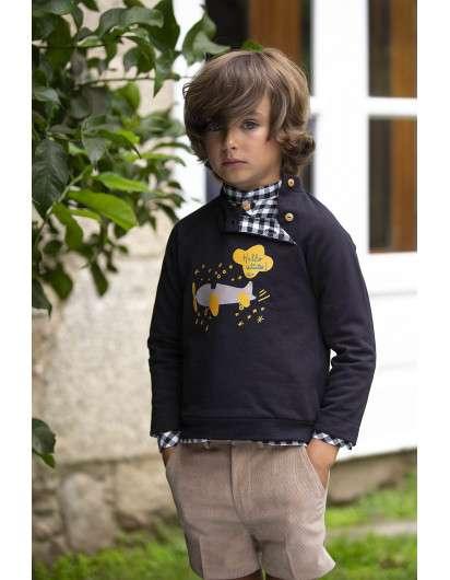 Camisa Kids Chocolate Vichy Negro Koalas