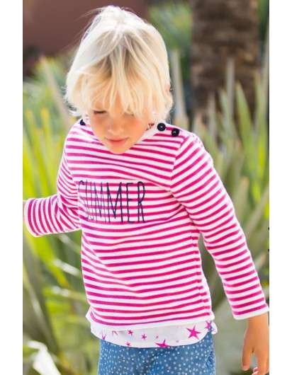 JERSEY KIDS CHOCOLATE RAYAS ROSA FUCSIA SUMMER UNISEX. COLECCIÓN STARS