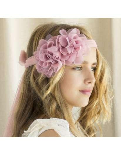 Cinta Niña Flores Gasa Rosa