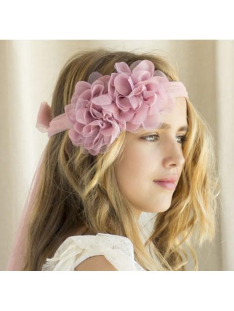 Cinta de Tul Niña Flores Gasa Rosa