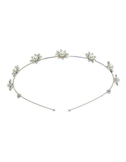 Diadema Plateada con Flores y Perlas