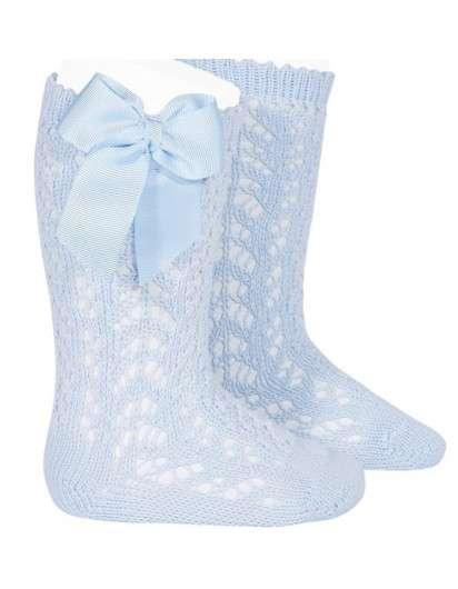 Calcetín Alto Azul Bebé  Perle Calado con Lazo Cóndor 410