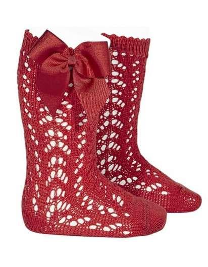Calcetín Alto Rojo  Perle Calado con Lazo Cóndor 550