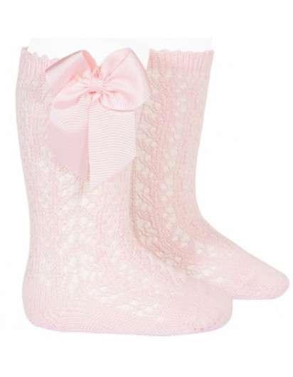 Calcetín Alto Rosa  Perle Calado con Lazo Cóndor 500