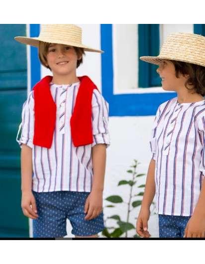 CAMISA KIDS CHOCOLATE COCODRILOS AMARILLA Y AZUL. COLECCIÓN LEMON