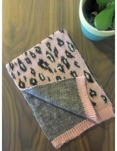 Bufanda Punto Leopardo Rosa Marrón