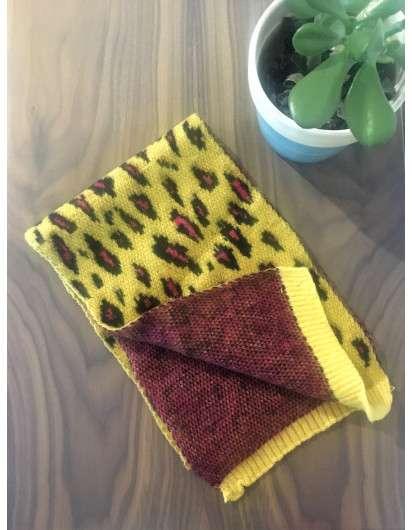 Bufanda Punto Leopardo Amarilla Rosa