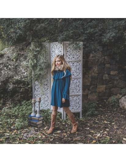 Vestido Bella Bimba Azul volante. Colección Lasuli