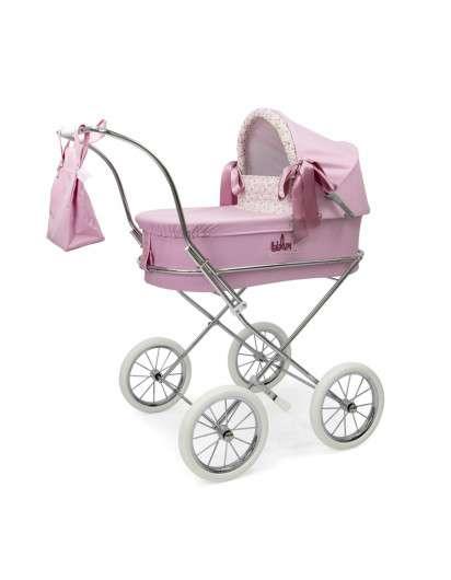 Carrito de muñeca Bebelux Miniparis rosa con Panera