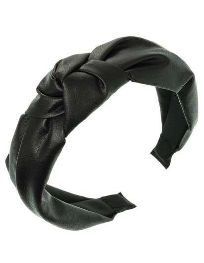 Diadema Nudo Piel Negro Siena