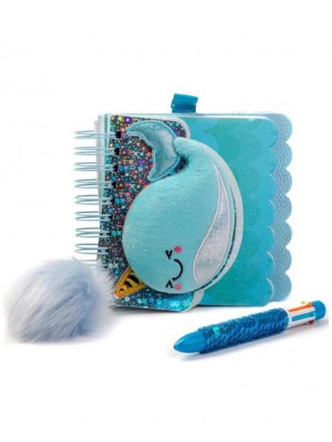 Cuaderno Ballena Unicornio y Bolígrafo Multicolor con Lentejuelas