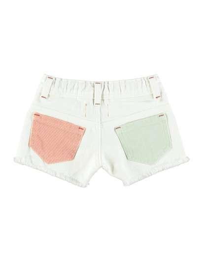 Short Piupiuchick  Blanco bolsillos Amarillo Verde Rosa Niña
