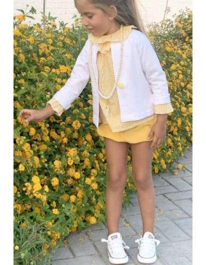 Conjunto Pilar Batanero Amarillo Peces Blusa y Bombacho jogging