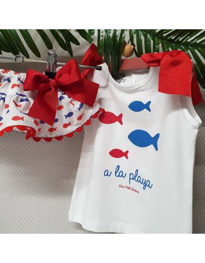 Conjunto Marinero Mon Petit Bonbon Camiseta y Braga rayas Volante