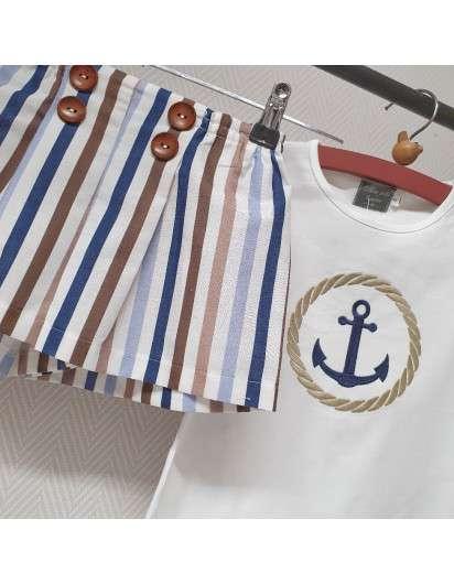 Conjunto Marinero Mon Petit Bonbon Camiseta y Short Rayas Niña