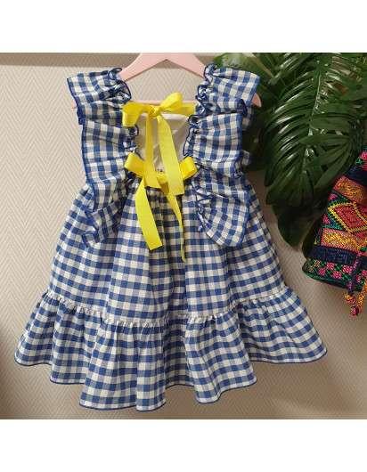 Vestido Vichy Azul Mon Petit Bonbon Lazada Amarilla