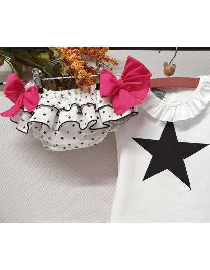 Braga Volantes  Mon Petit Bonbon Estrellas lazo rosa