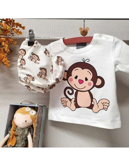 Conjunto Monitos Mon Petit Bonbon Bombacho Camiseta Niño