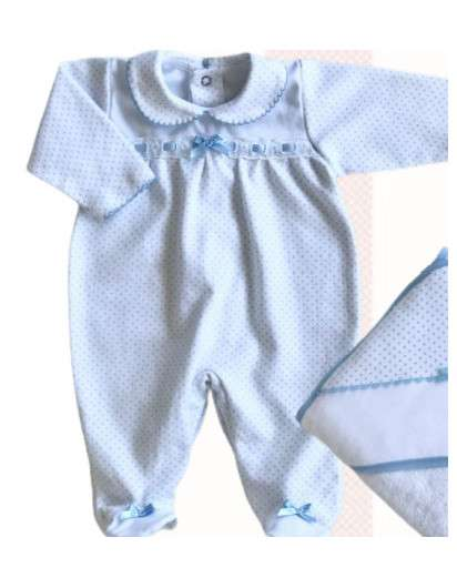 Pijama Valentina Bebes Topos Azul con Puntilla