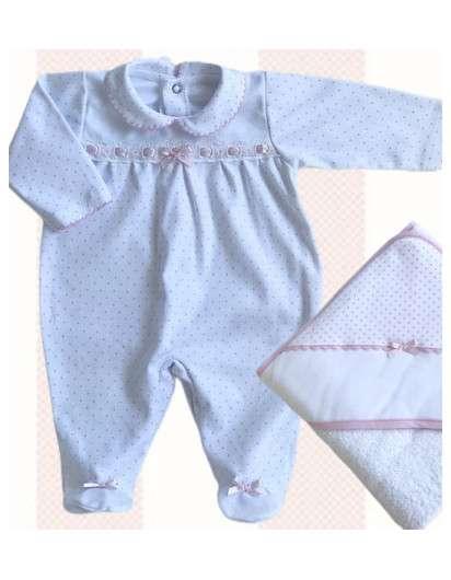 Pijama Valentina Bebes Topos Rosa con Puntilla