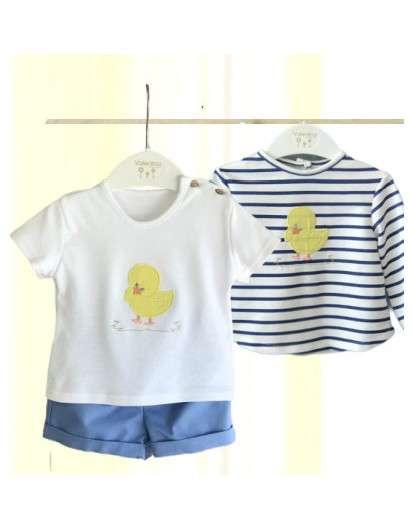 Conjunto Pollitos Valentina Bebes Niño Bermuda Camiseta y Sudadera