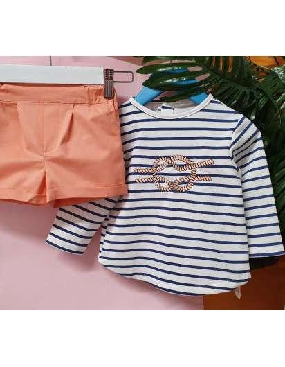 Conjunto Nudos Valentina Bebes Niño Bermuda y Camiseta