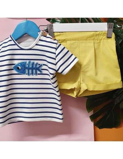 Conjunto Pez Lentejuelas Valentina Bebes Niño Bermuda y Camiseta