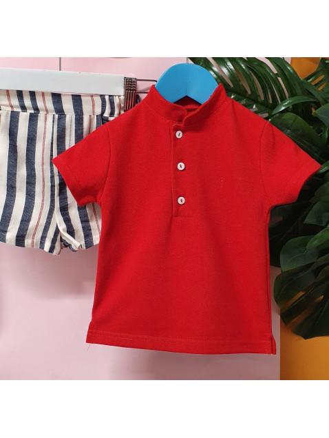 Conjunto Marinero Valentina Bebes Niño Bermuda y Polo Rojo