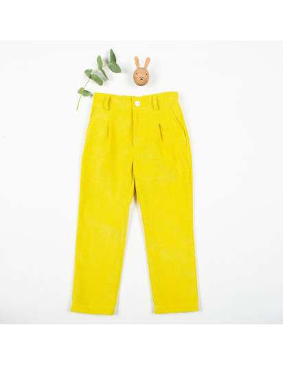 Pantalon Kids Chocolate Pana Amarillo Pitillo Unisex