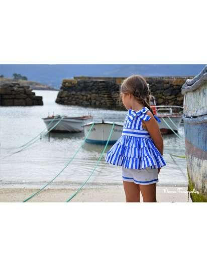 Conjunto Noma Fernandez Sailor Short Rayas Azul Marinero