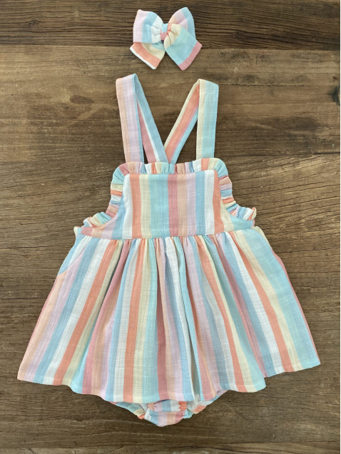 Pichi Baby Paris Rayas Colores Con Braga Niña