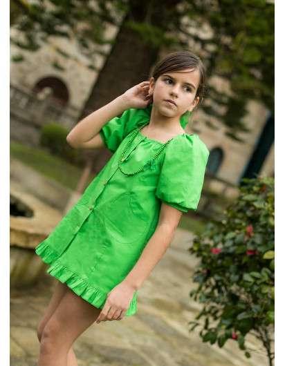 Vestido Gerbera La Martinica Verde  Abullonado Niña