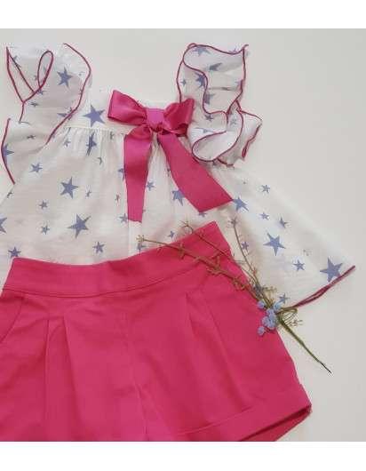 Conjunto Bora Bora La Martinica Blusa y Short Estrellas Azul Rosa