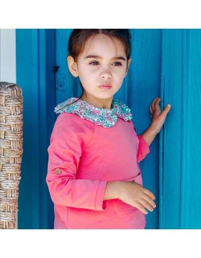 Blusa Baby Paris Liberty  Rosa Azul Cuello Plisado