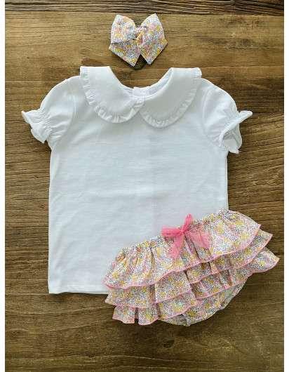 Camiseta Baby Paris Liberty Blanca Cuello Plisado