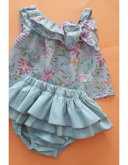 Conjunto Flores Verdeagua Bebes Niña Blusa y Bombacho