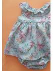 Vestido Flores Verdeagua Bebes Niña con braga