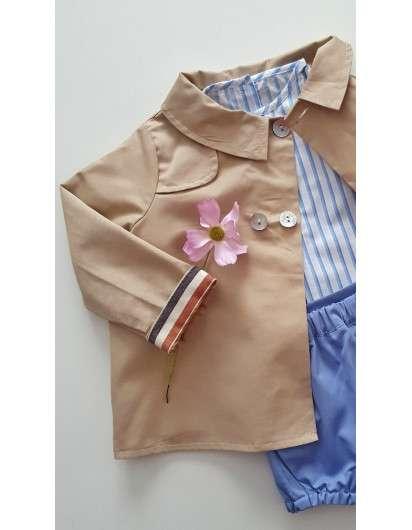 Conjunto Valentina Bebes Niño Camisa rayas  y Bombacho Azul