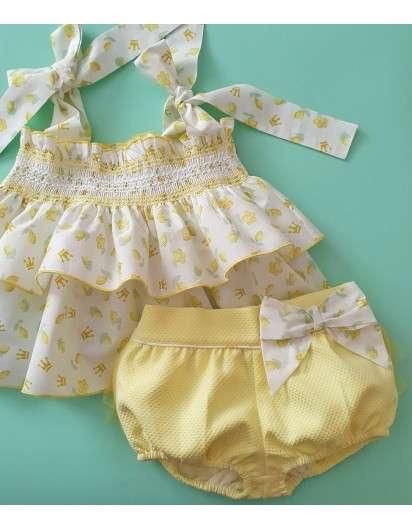 Conjunto Nara Eva Castro Bombacho y Blusa Amarillo Limon Niña
