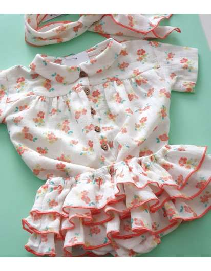 Blusa Baby Paris Flores Cuello Bebe Niña