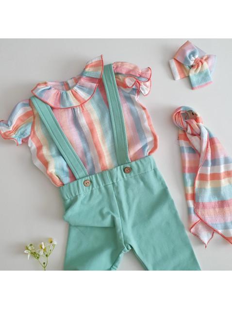 Blusa Volantes Baby Paris Rayas Colores Niña